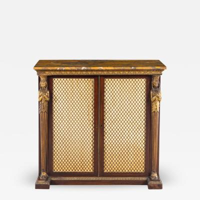 Thomas Hope Regency rosewood and gilt side cabinet in the manner of Thomas Hope