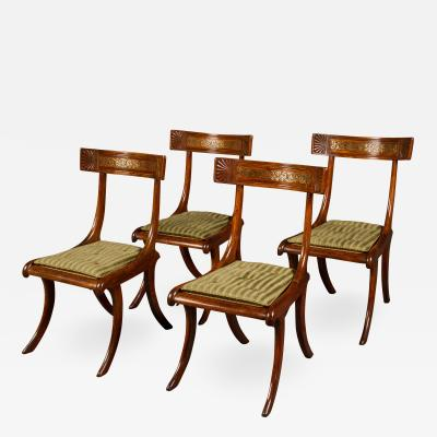 Thomas Hope Set of Four Regency Faux Rosewood Klismos Chairs after a Design by Thomas Hope
