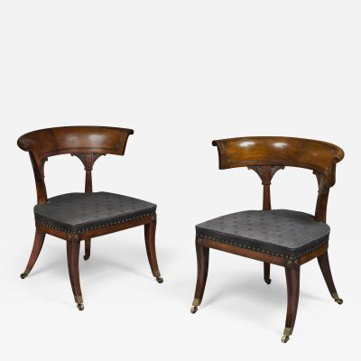 Thomas Hope Thomas Hope Pair of Regency Period Mahogany Library Klismos Chairs