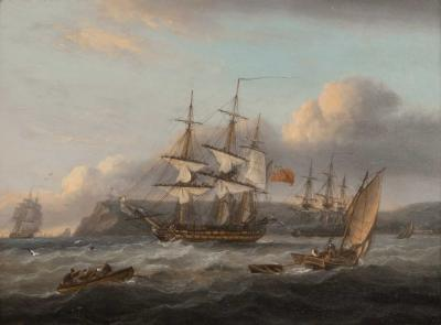 Thomas Luny HMS Bellerophon leaving Torbay with defeated Emperor Napoleon aboard