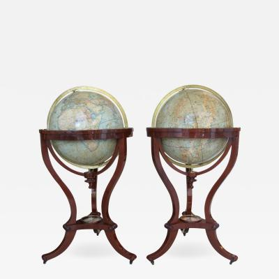 Thomas Malby Pair of Library Terrestrial Celestial Globes by Thomas Malby Co