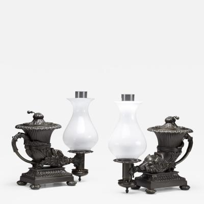 Thomas Messenger Sons Pair of Bronze Argand Lamps in the form of Anciet Rhytons