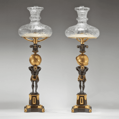 Thomas Messenger Sons Pair of Lacquered Brass Sinumbra Argand Lamps with Atlas Bases