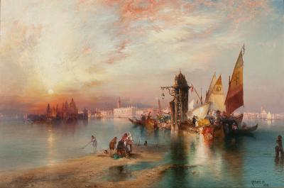 Thomas Moran Sunset View of the Gateway of Venice