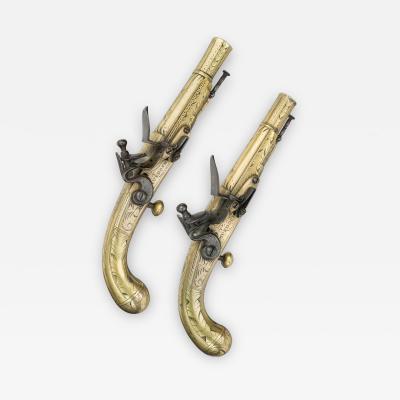 Thomas Murdoch A Pair of Scottish Flintlock Belt Pistols with Brass Lobe butted Stocks