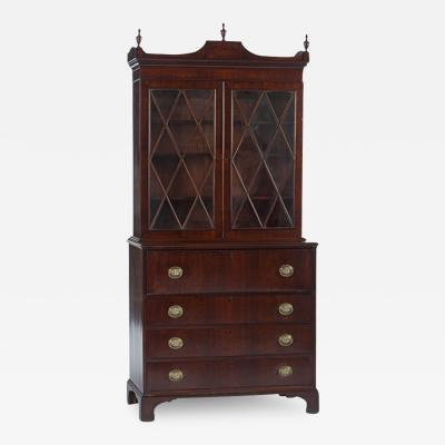 Thomas Needham Mass Federal Figured Mahogany Desk and Bookcase by Thomas Needham circa 1815
