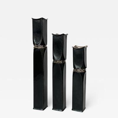 Thomas Roy Markusen Set 3 Thomas Roy Markusen Brutalist Candle Holders Vases