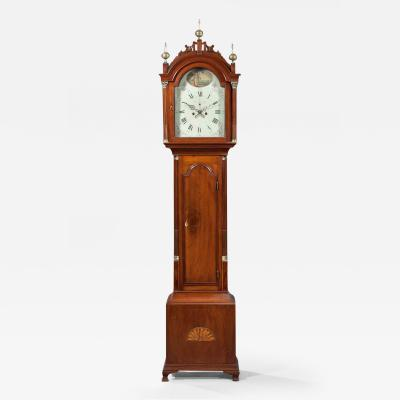 Thomas Seymour Hepplewhite Inlaid Tall Clock with Seymour Attributed Case Boston Circa 1790