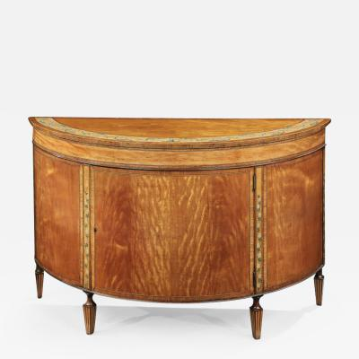 Thomas Sheraton 18th Century George III Period Sheraton Satinwood Demi Lune Commode Sidetable