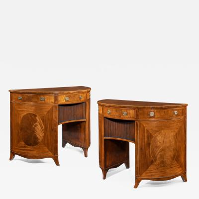 Thomas Sheraton A fine pair of George III figured mahogany side cabinets Thomas Sheraton
