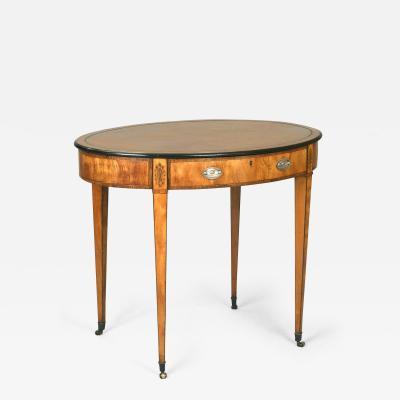 Thomas Sheraton Antique 18th Century Pure English Sheraton Period Oval Writing Center Table