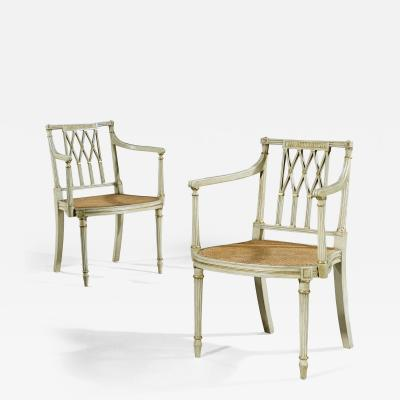 Thomas Sheraton Pair of Antique White and Gilt Painted Armchairs