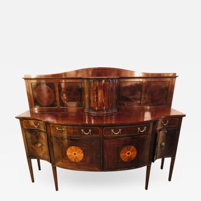 Thomas Sheraton Sheraton Flame Mahogany 19th Century Sideboard Buffet with Inlaid Backsplash Top