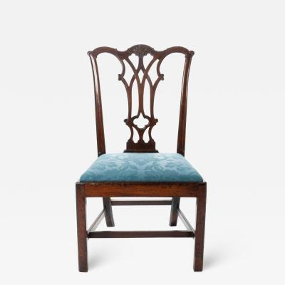 Thomas Tuft American Chippendale mahogany slip seat side chairs with rococo carved detail