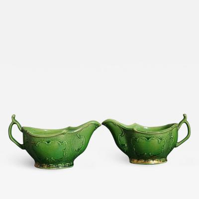 Thomas Whieldon 18th Century Whieldon Green glazed Sauceboats with remains of Original Gilt