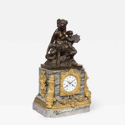 Thomire Cie French Gilt and Patinated Bronze and Marble Figural Mantel Clock