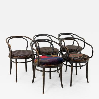 Thonet Stendig Bentwood Mid Century Cane Dining Chairs Set of 5