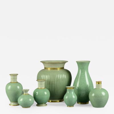 Thorkild Olsen Seven Vases with Crackle Glaze by Thorkild Olsen for Royal Copenhagen