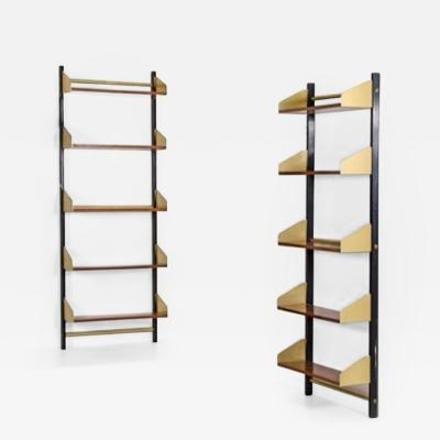 Three 1950s bookcases in metal and brass with adjustable shelves in wood
