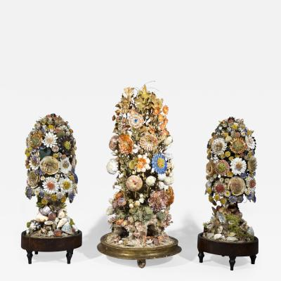 Three 19th Century Shellwork Flower Sculptures