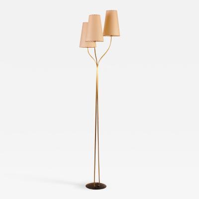 Three Arm Brass Floor Lamp Switzerland 1950s
