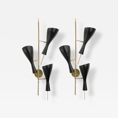 Three Brass and Black Metal Shade Midcentury Style Sconces