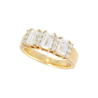 Three Emerald Cut Diamond Wedding Ring with Round Diamonds 18 Karat Yellow Gold