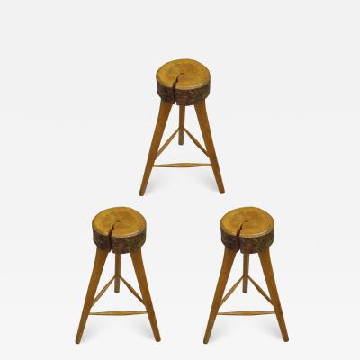 Three French Mid Century Modern Brutalist Style Wood Bar Stools