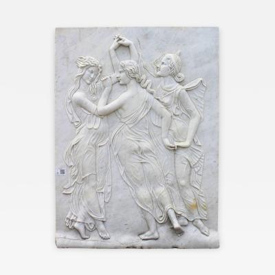 Three Graces Relief Hand Carved in White Carrara Marble