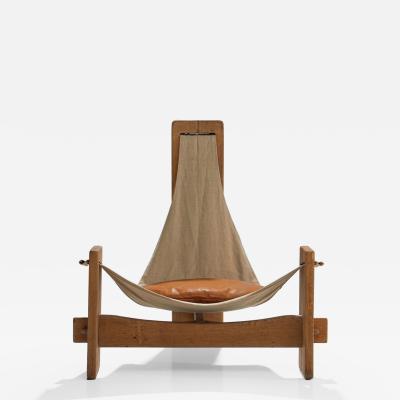 Three Legged Oak Sling Chair in Oak ca 1960 1970s