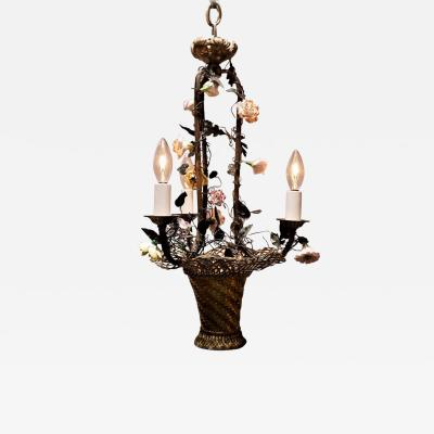 Three Light Basket Chandelier with Porcelain Flowers