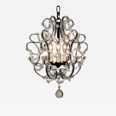 Three Light Beaded Chandelier Circa 1950 Italy