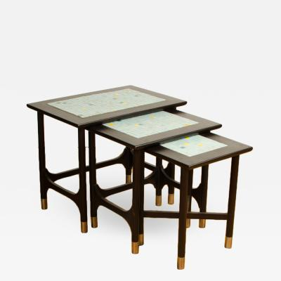 Three MCM nesting tables with tile inserts American in original condition