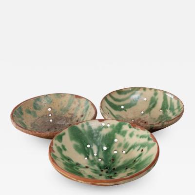 Three Majolica Strainer Bowls