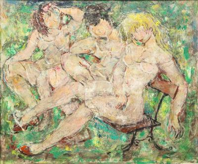 Three Nudes on a Park Bench Oil on Canvas