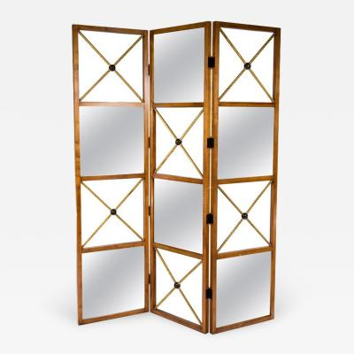 Three Panel Neoclassical Style Mirrored Screen