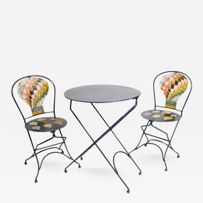 Three Piece Cafe Set Decorated with Painted Air Balloons