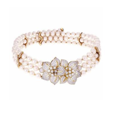 Three Row Cultured Pearl Diamond Gold Collar Choker Necklace
