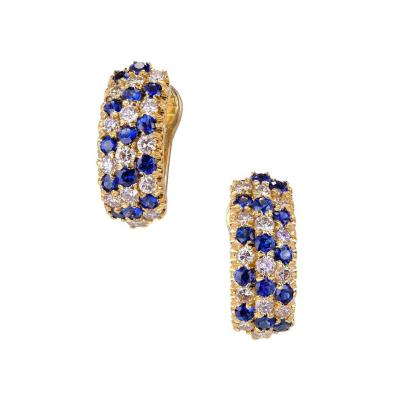 Three Row Sapphire Diamond Gold Hoop Earrings