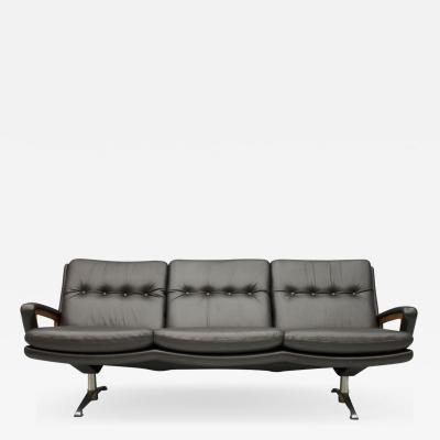 Three Seat Leather Sofa by Carl Straub Germany 1960s