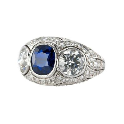 Three Stone Natural Sapphire and Diamond Platinum Ring Circa 1930s