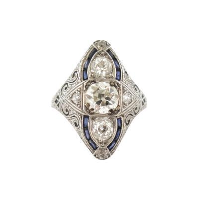 Three Stone Navette Shaped Diamond Ring