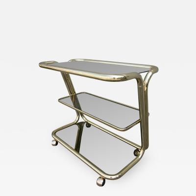 Three Tiered 1970s Brass Bar Cart with Smoked Glass Shelves