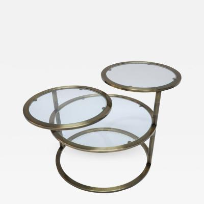 Three Tiered Brass Coffee Side Table with Adjustable Shelves