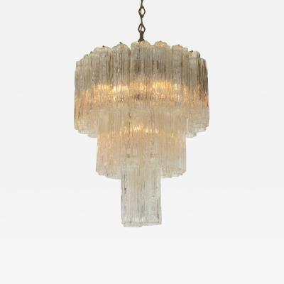 Three Tiered Tronchi Tube Murano Glass Chandelier by Camer