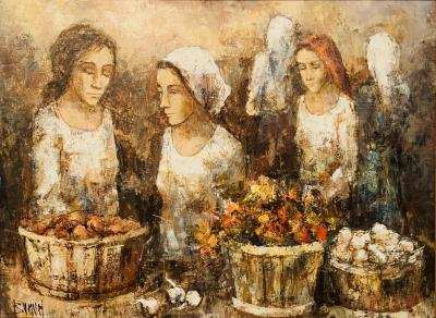 Three Women Farmers Oil on Board Painting Signed by Bunuel and Framed