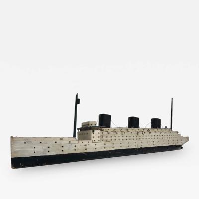 Three masted steamship model Folk Art