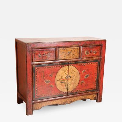 Tibetan Dowry Hand Painted Cabinet
