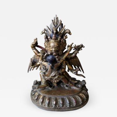 Tibetan Gilt Bronze Wrathful Yabyum Deities
