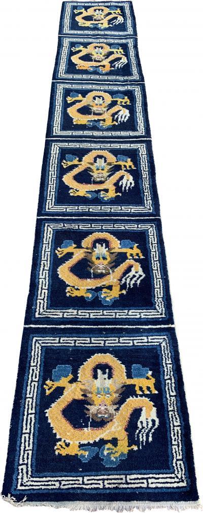 Tibetan Temple Rug With Six Dragons